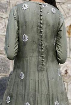 Kalidaar Dress with Sheer Overlay By Kanelle Saree Blouse Neck Designs, Kurta Neck Design, Dress Neck Designs, Stylish Dress Designs, Stylish Dresses, Simple Kurta Designs, Kurta Designs Women, Pakistani Dresses Casual, Pakistani Bridal Dresses