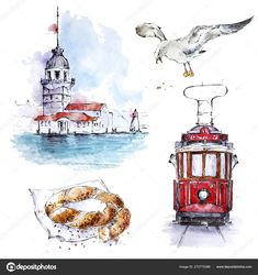 Landscape Pencil Drawings, Art Drawings, Cute Animal Drawings, Colorful Drawings, Watercolor Postcard, Watercolor Paintings, Libros Pop-up, Watercolor Architecture, Art Sketchbook