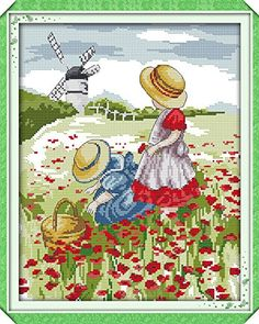 Good Value Cross Stitch Kits Beginners Kids Advanced -Poppy Field 11 CT DIY Handmade Needlework Set Cross-Stitching Accurate Stamped Patterns Embroidery Home Decoration Mother's day Small Cross Stitch, Cross Stitch Flowers, Cross Stitch Kits, Cross Stitch Designs, Cross Stitch Patterns, Cross Stitching, Cross Stitch Embroidery, Embroidery Patterns, Hand Embroidery
