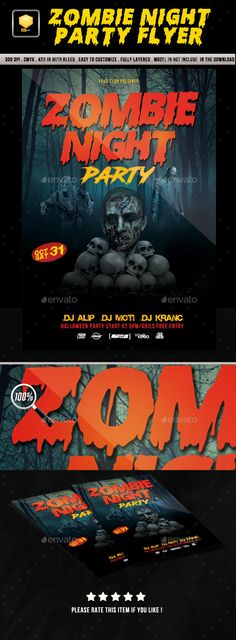 Spooky Zombie Party Flyer Template Zombie party, Flyer template