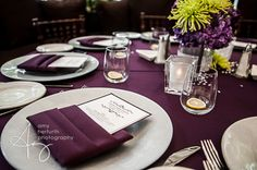 Purple tables with purple napkins     dallas wedding photography