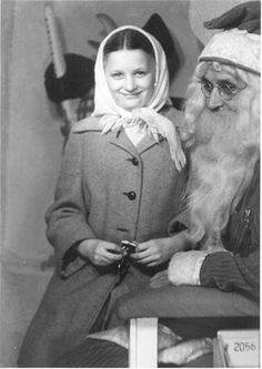 Vintage Christmas Photograph ~ 12 Year Old Girl Visiting a Baltimore Department Store Santa Claus ~ Christmas, 1948