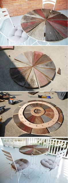 Rustic Wood Patio Table | DIY Rustic Curb Appeal Ideas by DIY Ready at  http://diyready.com/diy-ideas-home-improvement-on-a-budget/