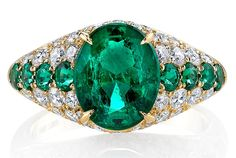 Omi Privé #Emerald and Diamond Dome Ring @omiprive