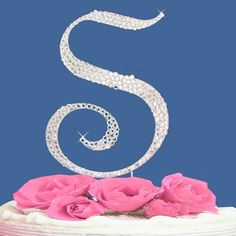 Monogram Wedding Cake Topper Letter with Crystals - 1 Large Letter -- You will love this! More info @ : baking decorations