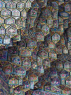 Pink Mosque Tiles ~ Nasir al-Mulk Mosque, Shiraz, Iran | Tessellated facets. Pink of the Shiraz roses. | 19th Century | ©Pete Shep