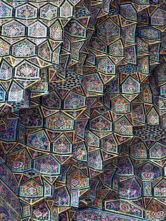 Pink Mosque Tiles ~ Nasir al-Mulk Mosque, Shiraz, Iran | Tessellated facets. Pink of the Shiraz roses. | 19th Century | ©Pete Shep