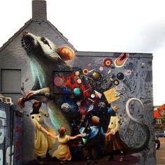 Street art   Mural (Breda, Netherlands) by Collin Van Der Sluijs, Super A, and Rutger Termohlen