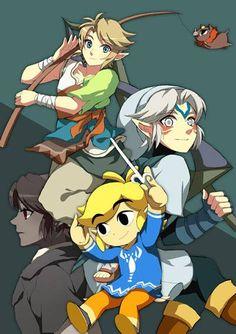 Cute: Link, Dark Link, Toon Link and Oni link