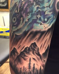 Nature tattoo northern lights galaxy mountains trees color by Cody Brigan