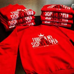 Custom-made red sweatshirts for some ladies of Delta Sigma Theta Sorority Incorporated, Inc.