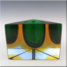 Mandruzzato Murano/Sommerso Faceted Green Glass Vase/Bowl - £129.99