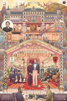 The Grand Budapest Hotel by Ise Ananphada. - Diego Urdaneta - - The Grand Budapest Hotel by Ise Ananphada. Tachisme, Films Cinema, Cinema Posters, Book Posters, Vampire Weekend, Wes Anderson Films, Wes Anderson Poster, Grand Budapest Hotel Poster, Kunst Poster