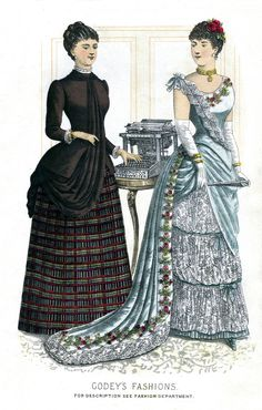 Fashion plate from the December 1884 Godey's Ladies' Book.  (Note the newfangled typewriter.)