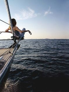 Woman relaxing on bow of yacht looking out to sea. Living In London, Wanderlust, Sail Away, Belle Photo, Places To Go, Around The Worlds, In This Moment, Explore, Beach