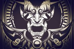 Steampunk Oni Illustration. Fully editable mouse made Japanese Oni illustration. It includes EPS, AI and SVG file formats.