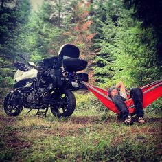 A hammock can do a lot for ADV camping. #ktm #dualsportlife #dualsport #ktm990 #ktmusa #ktmlove #smt #ktmsmt990 #ktmsmt#camping #campfire #campfirechillin #campfirelife #hammock #hammocklife #hammockhangs #cascades by @lost_with_the_wind