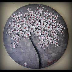 Original Fine Art Modern White Red Black Tree by ZarasShop on Etsy