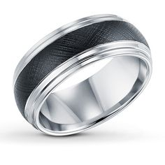 Men's Band Black & White Tungsten Carbide