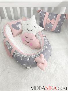 Modastra Babynest Gri Yıldız Desenli Ultra Lüx Baby Nest ve Çanta Set - Designer Baby, Baby Nest Bed, Baby Car Mirror, Baby Box, Baby Socks, Baby Milestones, Baby Design, Baby Care, Girl Room
