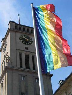 Gay Pride Flags flying outside Rathaus Schöneberg