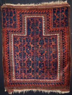 ANTIQUE BLUE GROUND TIMURI BALUCH PRAYER RUG SUPERB COLOUR MID 19TH CENTURY Size: 3ft 11in x 3ft 2in (120 x 97cm). Prayer Rug, Bathroom Rugs, Oriental Rug, Red And Blue, 19th Century, Camel, Prayers, Area Rugs, Colours