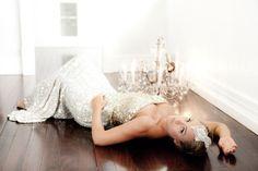 beautiful wedding dress and hair piece