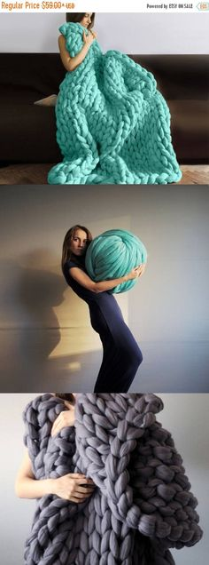 Montre comment tricoter http://bit.ly/2lOE2E5 Laine mérinos pour Armknitting. au point de 3 pouces. Tricot géant. Convient pour le tricot de bras. Laine mérinos. Cette laine est super épaisse. Il est pour le tricot de bras. Vous n'avez pas besoin d'aiguilles à tricoter. un point est d'environ 3 pouces. Nous allons faire extrême tricoté par vous-même ! FACILE, RAPIDE, AMUSANT, BRICOLAGE ! Combien laine ai-je besoin ? Couverture 30 * 50 pouces — 2 kg (4,4 lb) Couverture de 4...