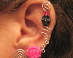 Prom Ear Cuff Spring Rose Cartilage Cuff No by WolfandFirefly