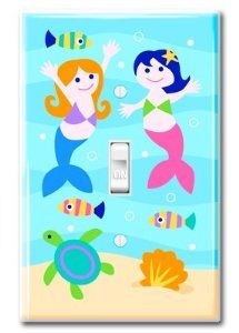 "Limited Edition Swim with the Mermaids Switchplate Cover by Olive kids. $29.99. fits a standard size switch plate cover. 2 white screws included. measures 3 1/8"" x 4 7/8"". The Limited Edition Swim with the Mermaids Switchplate Cover is a simple yet pleasing to the eye switch plate cover. This features our friendly mermaids deep down in the sea with some fishes and our little turtle.   Instructions for use:   *Before installing, turn off power at the fuse box or c..."