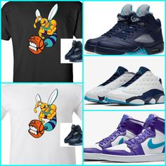 f6158f16d592 EXCLUSIVE TEE SHIRT to match ANY of the NIKE AIR JORDAN CHARLOTTE HORNETS    MIDNIGHT NAVY   BLUES