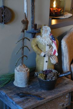 Primitive Country Christmas by A Storybook Life Primitive Christmas Decorating, Primitive Country Christmas, Primitive Santa, Prim Christmas, Christmas Makes, Primitive Crafts, Vintage Christmas, Christmas Crafts, Christmas Ornaments