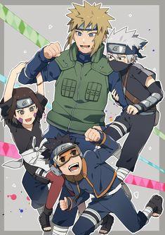 Team Minato Naruto Sharingan, Naruto Kakashi, Anime Naruto, Naruto Fan Art, Naruto Sasuke Sakura, Naruto Cute, Naruto Shippuden Anime, Minato Kushina, Naruhina