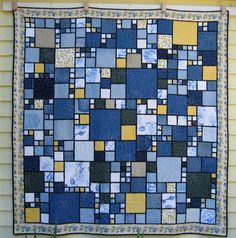 Lucy's Quilts: Denim Quilts Log Cabin Layout on the large strips