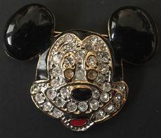Disney Mickey Mouse Head Enamel Jeweled Pin Brooch Goldtone Rhinestone Jewelry #Disney