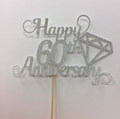 Happy anniversary glitter card cake topper in silver of gold colour. Design… Happy anniversary glitter card cake topper in silver of gold colour. Designed with a diamond cut out to celebrate a special day. 60 Year Wedding Anniversary, Diamond Wedding Anniversary Cake, Diamond Wedding Cakes, Anniversary Cookies, Anniversary Crafts, Wedding Anniversary Celebration, Anniversary Decorations, Diamond Cake, Anniversary Invitations