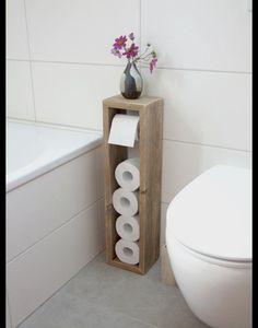 Perfect **Toilettenpapierhalter, Toilettenpapierständer, Klopapierhalter, H/B/T 65/16/13cm, im angesagten shabby chic. Handgearbeitet aus recycelten Vollholzdielen. Ohne Box für Klobürste. Diese ..