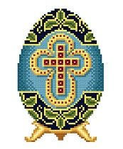POL: Blue Easter Egg with Ruby Cross by Solaria Gallery
