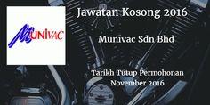 Jawatan Kosong MUNIVAC SDN BHD November 2016  MUNIVAC SDN BHD mencari calon-calon yang sesuai untuk mengisi kekosongan jawatan MUNIVAC SDN BHD terkini 2016.  Jawatan Kosong MUNIVAC SDN BHD November 2016  Warganegara Malaysia yang berminat bekerja di MUNIVAC SDN BHD dan berkelayakan dipelawa untuk memohon sekarang juga. Jawatan Kosong MUNIVAC SDN BHD Terkini November 2016 : 1)Production Leader: Job Requirement: a)Minimurn SPM holder or equivalent or minimum 1 year related working experience…