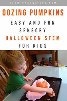 Add some STEM to your Halloween! Learn how to make a creepy oozing pumpkin for sensory science fun. Great learning activity for Halloween parties! #Halloween #learning #activity #pumpkin #STEM #science #kids #preschool Team-Cartwright.com Cool Science Experiments, Stem Science, Preschool Science, Science For Kids, Toddler Learning Activities, Science Activities, Kids Learning, Halloween Parties, Halloween Books