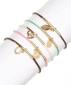 Gold & Pastel Charm Bracelet Set
