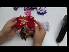 Повязка для малышки Канзаши, Мастер-класс / Hairband Flowers of satin ribbon Kanzashi, Tutorial - YouTube