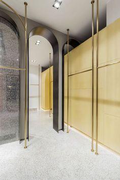 View the full picture gallery of Z. Fashion Shop Interior, Boutique Interior Design, Bathroom Interior Design, Gold Interior, Retail Interior, Clothing Store Design, Public Bathrooms, Shop Interiors, Retail Design