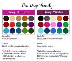 Deep Color Season Palette - Deep Autumn & Deep Winter