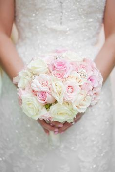 Blush and Ivory Rose, Crystal Bridal Bouquet | Casey Hendrickson Photography | David Tutera for Mon Cheri | Poffie Girls https://www.theknot.com/marketplace/poffie-girls-gastonia-nc-371378 | Chelfish Moore Photography https://www.theknot.com/marketplace/chelish-moore-flowers-concord-nc-596550