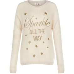 Stone Sparkle All The Way Christmas Jumper ($23) ❤ liked on Polyvore featuring tops, sweaters, jumper, shirts, slogan shirts, stone top, jumpers sweaters, long sleeve shirts and extra long sleeve shirts