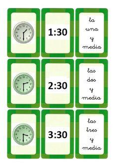 Ahí os dejo unas tarjetas para aprender las horas en punto e y media. Espero que os sean útiles.   (Elaboración propia cogiendo los relojes... Spanish Teacher, Spanish Classroom, Classroom Ideas, Sentence Structure, Montessori Materials, Telling Time, Math For Kids, Spanish Lessons, Educational Games