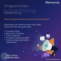 Why is programmatic advertising important? Advertisers can directly reach their ideal consumers for any given goal. Increase clarity Real-time Tracking Quick response Increase customers reach Greater targeting market capabilities #wemonde #programmatic #advertising #digitalmarketing #marketing #mediaplanning #adtech #media #digitaladvertising #agencylife #digital #adops #digitalmedia #mediaagency #RealTimeTracking #customersreach #TargetAudience #transparency #programmaticadvertising #seo Digital Campaign, Target Audience, Digital Marketing Services, Digital Media, Clarity, Seo, Goal, Advertising, Business