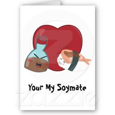 Kawaii Sushi Friends Soymate's Card. A sweet and cute way to tell your special someone how you feel. Makes a wonderful Valentines day gift!