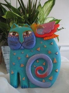 Laurel Burch Cat Bird Art Statue Kindred Spirits 1999 Fantastic Feline Sculpture